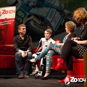 Ruben Doorakkers, motor coureur, op de bank bij Zo104 op 23 mrt. 2014