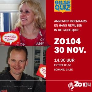 Annemiek en Hans in de Gilse Quiz van Zo104